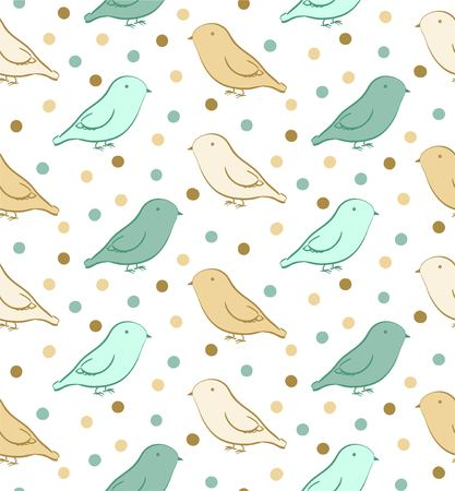 ornithological: Green yellow seamless pattern with birds in neutral colors