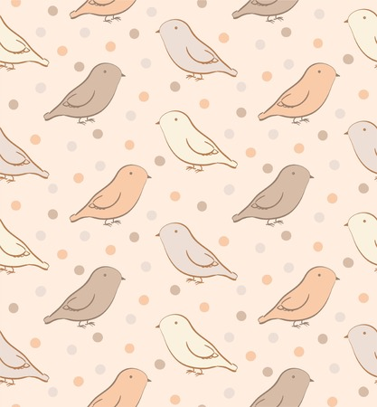 naturalistic: Brown seamless pattern with birds in neutral colors