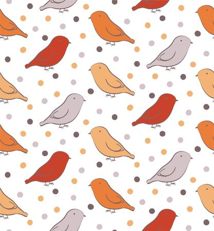 ornithological: Bright seamless pattern with birds in neutral colors Illustration