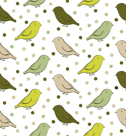 ornithological: Bright green seamless pattern with birds in neutral colors