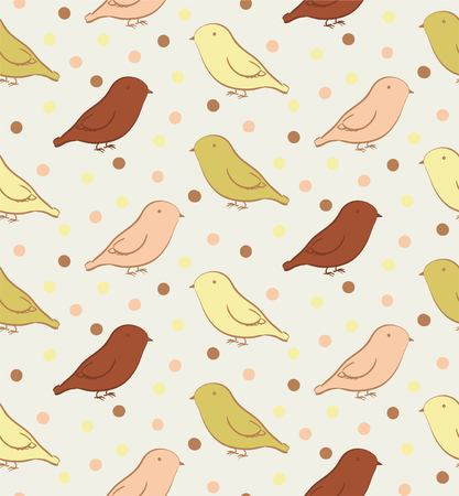 ornithological: Seamless pattern with birds in neutral colors Illustration