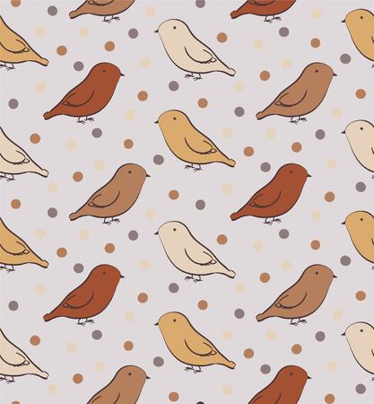 neutral: Brown seamless pattern with birds in neutral colors