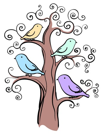 tree isolated: 4 miscellaneous color birds on tree isolated