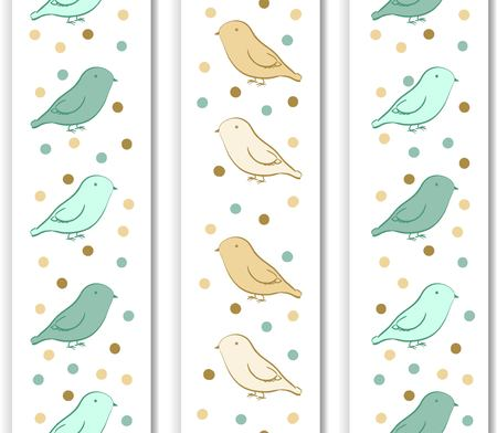 inkle: Vertical border with birds in neutral colors