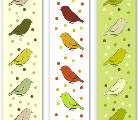ornithological: Vertical border with birds in neutral colors