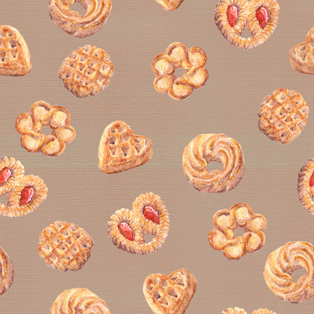 aquarel: Seamless cookies wallpaper. Baking food design isolated on white background. Watercolor hand painted drawing
