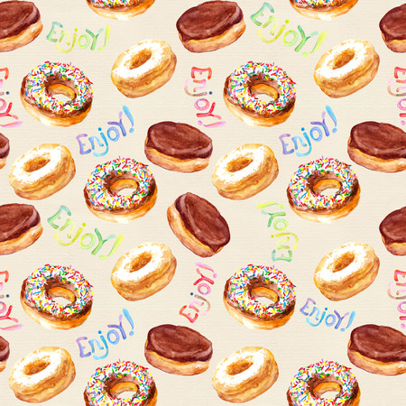 baked: Seamless watercolor painted pattern with hand drawn baked donuts on paper texture Stock Photo