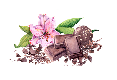 Chocolate block, chocolate candy and pink flower. Watercolor
