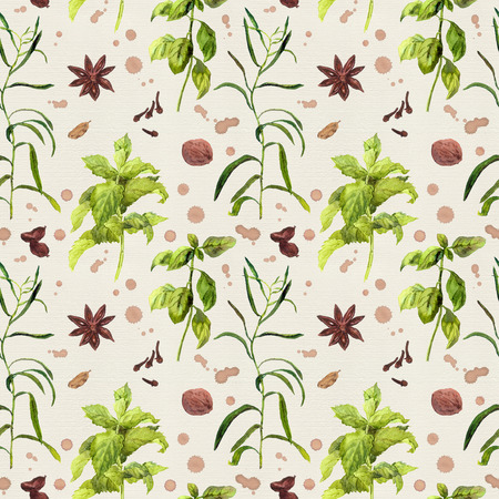 repeated: Species and herbs for cooking. Seamless watercolor pattern.