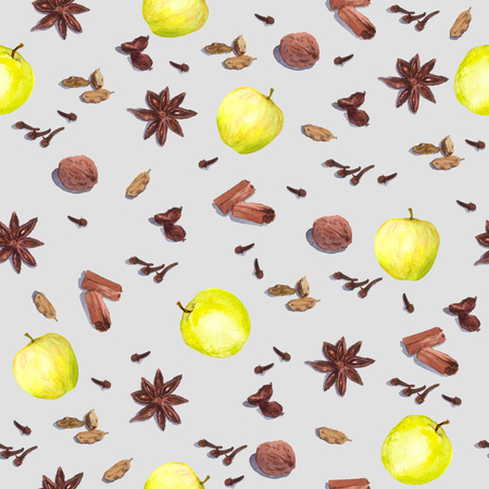 cloves: Species and fruits for cook: nutmeg, cloves, anise, cinnamon and others. Repeated watercolor wallpaper.