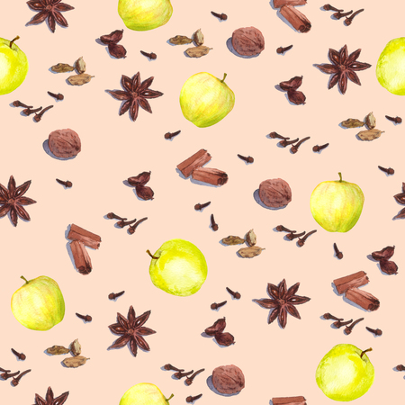 anise: Species and fruits for cook: nutmeg, cloves, anise, cinnamon and others. Repeated watercolor wallpaper.