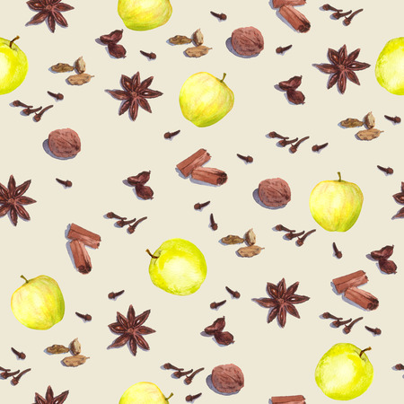 nutmeg: Species and fruits for cook: nutmeg, cloves, anise, cinnamon and others. Repeated watercolor wallpaper.