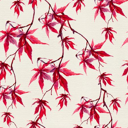 Automne chinois feuilles d'érable rouge. Seamless. aquarelle japonaise Banque d'images - 58026386
