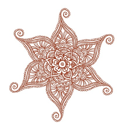 Aufwändige Blume - dekorative indischen Henna-Design. Mehendi Vektor in der Stickerei Stil Standard-Bild - 58026514