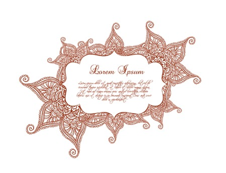 lable: Ornamental border - decorative frame, indian ornament with flowers. Vector lable in eastern style