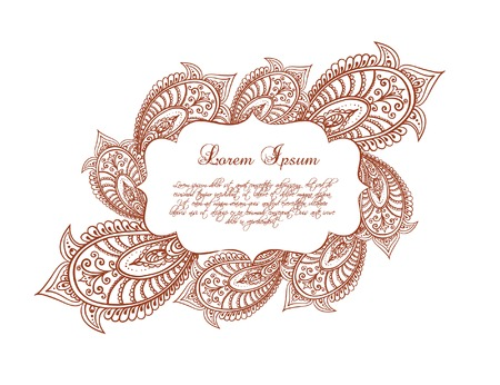 lable: Eastern border - lable frame with persian ornament. Vector decor in decorative style