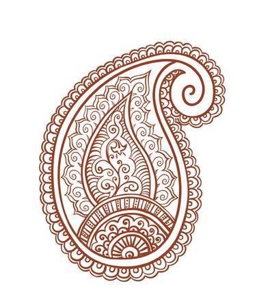 mendi: Indian paisley - decorative henna design, India. Mendi vector, ornamental style