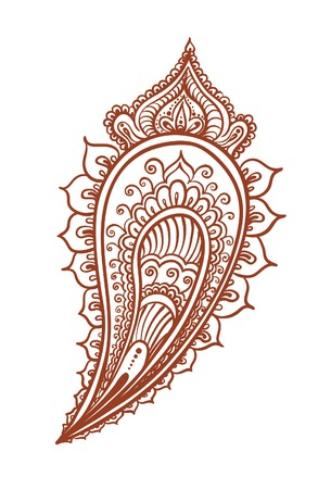 henna design: Indian feather - decorative eastern henna design. Mehendi vector in ethnic style