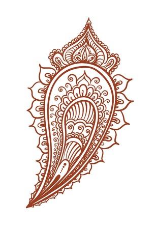 Indian feather - decorative eastern henna design. Mehendi vector in ethnic style