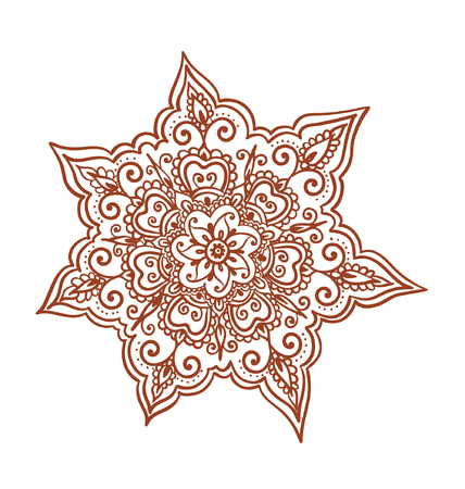 brown pattern: Ornamental flower - decorative indian henna ornament. Mendi vector in arabian style Illustration