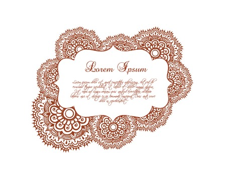 lable: Ornamental border - oriental frame with eastern ornament. Vector lable in decorative style