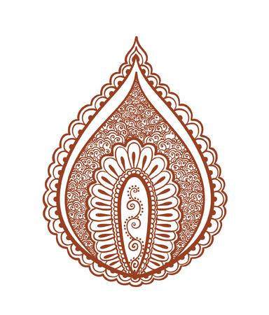 mendi: Oriental leaf - floral indian henna tattoo design. Mendi vector in ethnic style Illustration