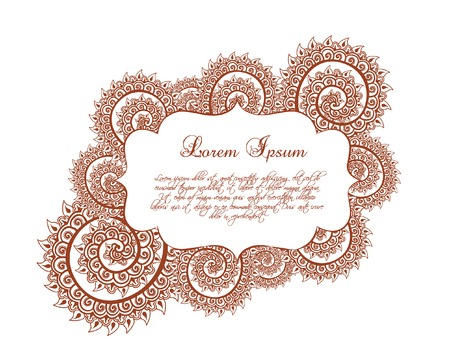 lable: Indian border - oriental frame with curves and indian ornament. Vector lable in ornamental style