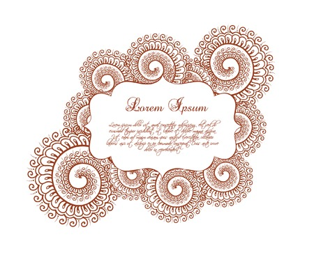 eastern: Decorative border - oriental frame with eastern ornament, curves. Vector label in ornamental style for fashion design