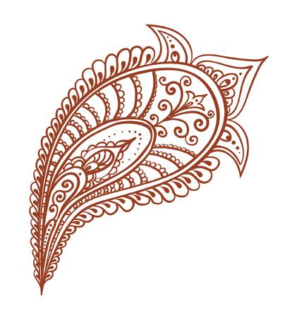 mendi: Ornate feather - decorative indian henna design. Mehendi vector in ethnic style