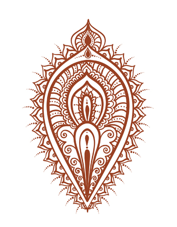 mendi: Ethnic leaf or feather - decorative indian henna tattoo decor. Mendi vector in traditional indian style Illustration