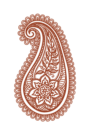 Ornate paisley with decorative flower and leaves - decorative floral indian henna design. Mehendi paisly vector in eastern style Illustration