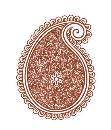 Indian vintage paisley - decorative henna design. India. Mehendi vector, ornamental style