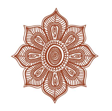 mendi: Floral ornament - decorative indian henna tatto flower. Mendi vector in arabian style