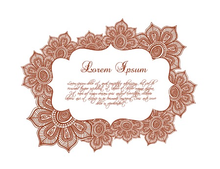 lable: Decorative flowers border - lace floral frame with eastern ornament. Vector lable in ornamental islamic style