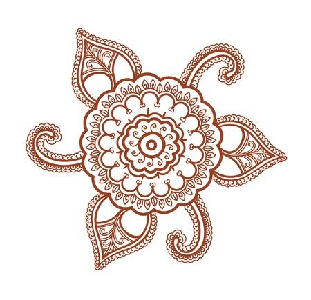 Ornamental flower - decorative indian henna ornament. Mendi vector in arabian style Illustration
