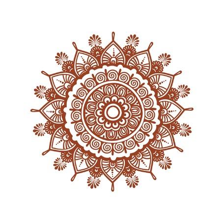 henna design: Orient circle mandala - decorative ornamental henna design. Mehendy vector in ethnic style