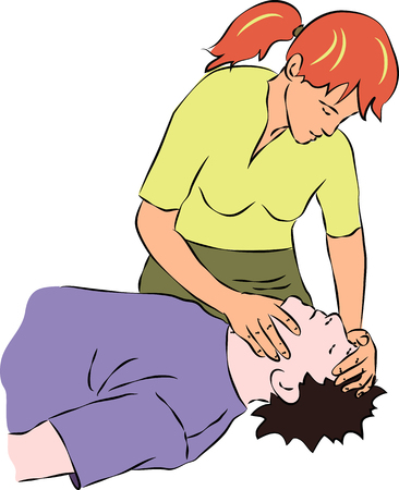 reanimation: First aid - holding head of unconscious person. Vector