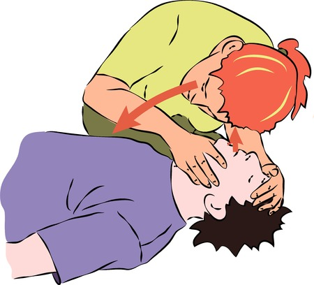 First aid - listening for breath from unconscious man. Vector