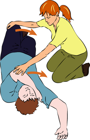 upturned: First aid, help - tumbling unconscious man. Vector Illustration