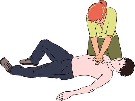 응급 처치 - 재 시술 절차. 숨가쁜 남자를위한 CPR 심장 마사지. 벡터