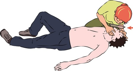 unconscious: First aid - mouth breathing ventilation for unconscious man. Vector
