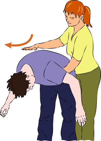 suffocation: First aid - procedure with choking man. Vector Illustration