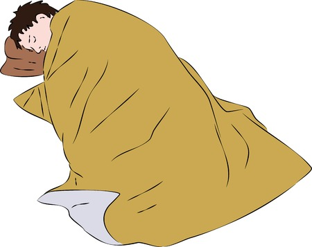 blanket: First aid - injured man under foil thermal blanket. Vector