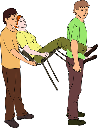 injured: First aid - carry injured woman on chair. Vector Illustration
