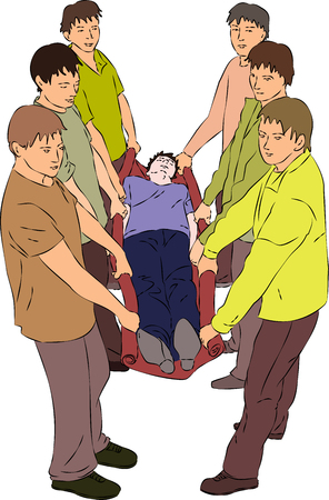 injured person: First aid - carry injured person on blanket. Vector