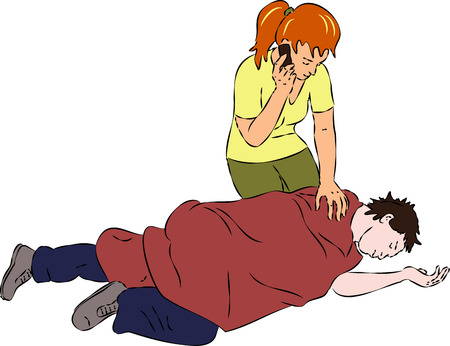 First aid - man unconscious, woman call by mobile for help Illustration