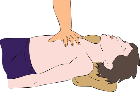 chest compression: First aid - SPR heart massage for child. Vector Illustration