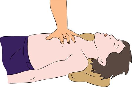cardiopulmonary: First aid - SPR heart massage for child. Vector Illustration