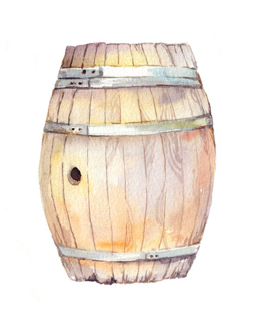 wine colour: Wood barrel for wine, beer. Watercolor keg Stock Photo