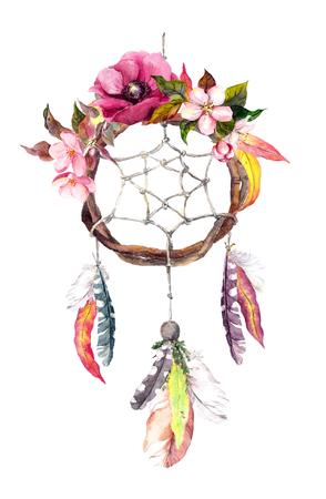 Vanger van de droom - dromenvanger met veren, de herfst bladeren en bloemen. Herfst aquarel in boho stijl Stockfoto